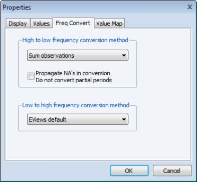 EViews Help: Frequency Conversion